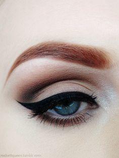 pin up makeup, eye makeup, cat eyes, beauti, makeup looks