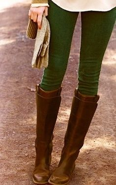 brown fall boots, also loving the green leggings