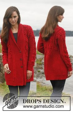 "Knitted DROPS jacket with cables and shawl collar in ""Lima"". Size: S - XXXL. ~ DROPS Design"