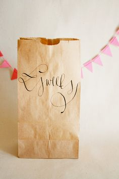 Brown Paper Favor Bags with Custom Calligraphy
