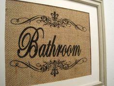 Burlap, wall art, burlap sign, frames, burlap print, burlap bathroom, monogram, bathrooms, bathroom signs, burlap art
