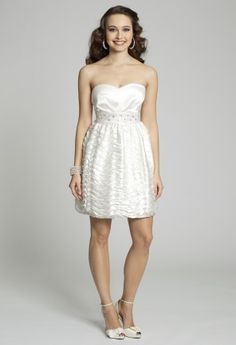 White Dresses - Strapless White Prom Dress from Camille La Vie and Group USA