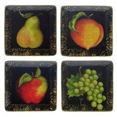 Fruit Filigree Dessert Plate - Set of 4
