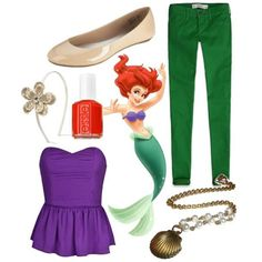 How To Dress Like 10 Disney Princesses disney outfits, princess costumes, disney princesses, dress casual, princess outfits, the little mermaid, dressing up, inspired outfits, disney characters