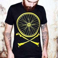 Bike Wheel and Crossbones T-Shirt - Chartreuse Bicycle Print on American Apparel TShirt