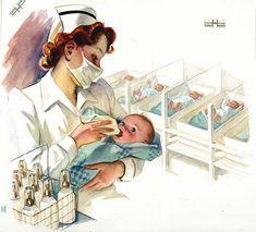 An endearingly sweet 1940s illustration of a nurse bottle feeding a newborn baby.