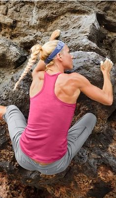 fearless rockclimbing!  (omg hair, arms, & back)