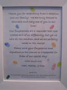 Adoption Celebration - fingerprint directions