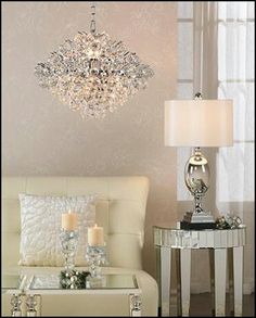 crystal chandeliers, living rooms, mirrored furniture, decorating ideas, make a room, lamp, living room tables, light, bedroom