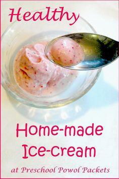Healthy Homemade Ice-cream!!  Only requires 3 ingredients!!  #preschoolactivities