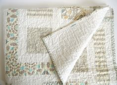 Grey and White Modern Simple Baby Quilt by SWDesignsBaby on Etsy