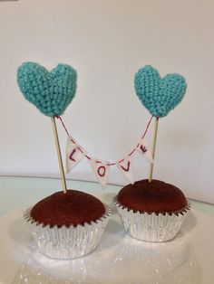 Hand-crochet Hearts with Love Banner Cake Topper via Etsy