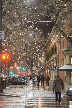 Snow and Lights in Old Town, Fort Collins, Colorado!! Makes My Heart Melt!! <3