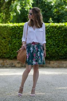 white casual blouse & green floral skirt <3