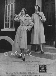 Get the cashmere look that's blessed with nylon's stamina! #vintage #coat #fashion #1950s #ad