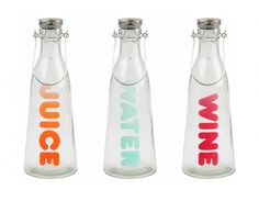 water and juice bottles