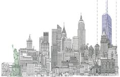 11 X 17 Line Drawing of New York City Skyline with by designfitz, $30.00