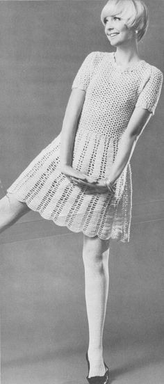 Vintage 1960s Crochet Dolly Dress Pattern PDF 6713