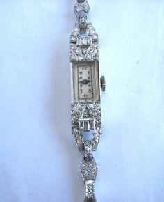 Platinum Diamond Art Deco Lady's Wristwatch by TheAntiqueJeweler, $2050.00