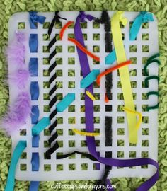 Weaving Busy Bag!  A fun way to develop fine motor skills on the go!