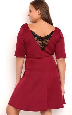 Deb Shops Plus Size Skater Dress with Lace Back $20.00