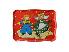 Vintage Valentine DUTCH ICE SKATERS Tin Red Toy Tray.