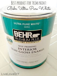 The BEST white paint for trim and cabinetry! You'll be glad you pinned this!    We love this paint.  (I'll have to try it.)