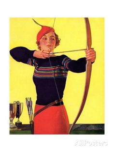 Woman Archer Takes Aim with Her Bow and Arrow Giclee Print at AllPosters.com