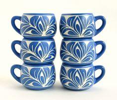 Pablo Zabal Ceramic Espresso Cups / Demitasse Set / Hand Carved Set of 6 / Chilean Art Pottery