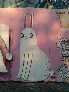 big bunnie by spitsbergen, via Flickr; pink and white bunny rabbit illustration graffiti