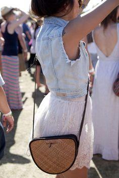 skirt, festival outfits, concert outfits, fashion, bag, jean jackets, white lace, music festivals, lace dresses