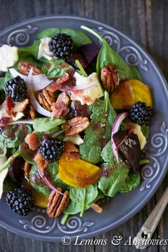 Spinach & Roasted Beet Salad with Berry-Balsamic Vinaigrette | Savor this new flavor with yellow beets, blackberries and try: turkey bacon and fat-free feta cheese for heart smart substitutions - be sure to check out the source for more:  lemonsandanchovies.com salad recip, berrybalsam vinaigrett, roast beet, healthi, spinach, eat, salads, roasted beet salad, vinaigrette