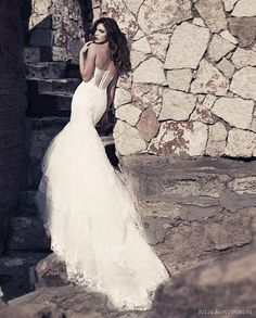 Sexy lace mermaid wedding gown with long train