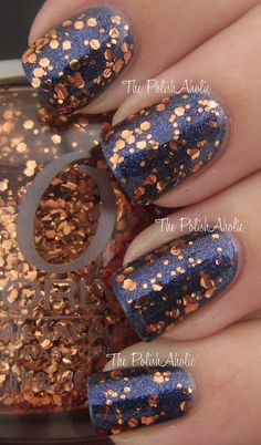Orly Watch It Glitter over Nicole by OPI If The Blue Fits.  from The PolishAholic: Flash Glam FX Collection Swatches!