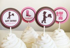Cowgirl Cupcake Toppers  Birthday Party by LittleMavens on Etsy, $1.00