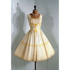 TimelessVixenVintage:: 1950s Vintage Yellow and White Coutour Dress - Photo