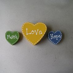 """Faith Hope Love Christian Inspirational Magnet Set by ifrogcrafts. and as the Bible says, """"the greatest of these is love"""""""