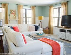 Our spring family room update   coral   navy #fourgenerationsoneroof