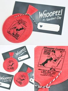 "Whoopee Cushion Valentine -- ""Whoopee! It's Valentine's Day!"" (with free printable)"