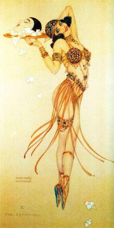 theatres, salom, theatr program, art, 1916, ziegfeld folli, centuri girl, raphael kirchner, illustr