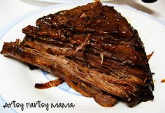 Crock pot brisket! (recipe for 5+ lb brisket)1 3/4 cup BBQ sauce, 2T brown sugar, 2t worcestershire sauce, 2t black pepper, 1t garlic salt, 1t seasoned salt, 1/2t onion powder. Mix together and coat brisket. Let marinate over night. Cook on low for 9-10 hours.