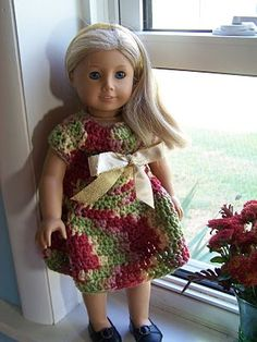 Autumn Celebration dress, American girl doll, crochet pattern