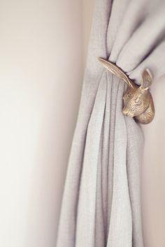 Brass Bunny curtain holder