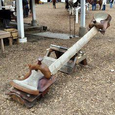 Horse saddle swing for grandkids....