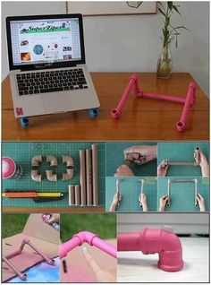 DIY laptop holder from PVC piping. Cheap and so easy! The pipes just snap together