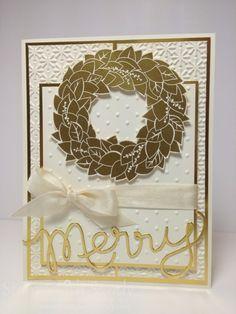 Wonderful Wreath--Stamp Sets: Wonderful Wreath  Card Stock: Very Vanilla  Ink Pads: Versamark  Tools: Heat Tool, Big Shot, Snow Burst and Perfect Polka Dots Embossing Folders, Expressions Thinlits Dies  Accessories: Gold Foil Sheets, Gold Embossing Powder, Very Vanilla Seam Binding