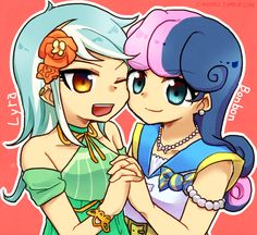 MLP EqG: Lyra and Bonbon by 00riko.deviantart.com on @DeviantART