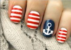 Ring finger manicure  #nails #ringfinger #nautical #stripes #red #white #blue #mani #nailart