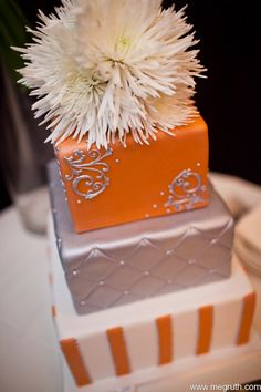 Grey+and+Orange+Wedding+Cake | Orange and Silver Wedding cake with floral Katie and Ryans Modern ...