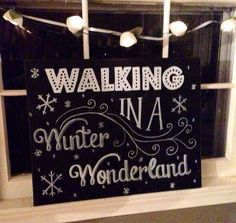 Winter Wonderland Hand Painted Chalkboard Canvas Art-Holiday and Christmas Decor  on Etsy, $40.00